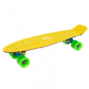 "Пенни борд Fish Skateboards Print 22.5"" желтый граффити"